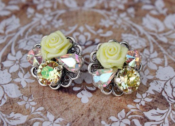 Vintage Collage Earrings Swarovski Collage by FrenchAtticDesign
