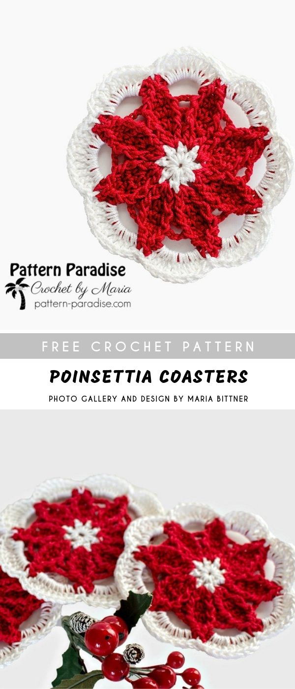 Poinsettia Crochet Coasters Crochetpatternsfree Doily Decorative
