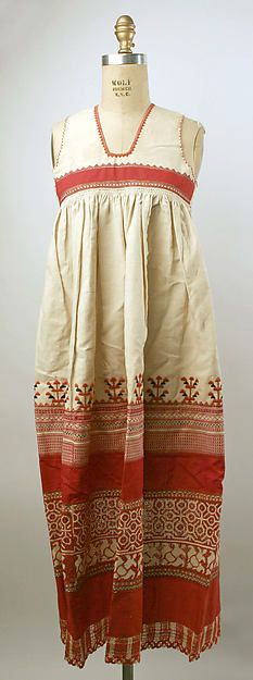 """Apron"" (ca. 19th century). Russian. Linen, Cotton. Gift of Miss Isabel Hapgood, 1911. Posted on metmuseum.org."