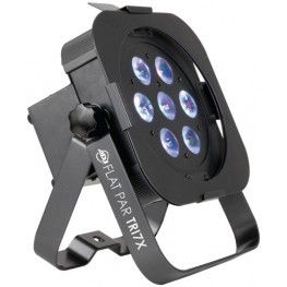 "The ADJ Flat Par TRI7X is a professional ""low profile"" LED Par Can with extremely bright output. It features seven 3-Watt TRI LEDs (3-in-1 RGB) and will not cast any RGB shadows. The units ""low profile,"" sideways power & DMX Ins/Outs and dual hanging brackets make it ideal for mobile entertainers, permanent installations and for inserting into truss for uplighting. The Flat Par TRI7X has 7 different DMX channel modes, and may also run in Sound Active or Master/Slave modes."