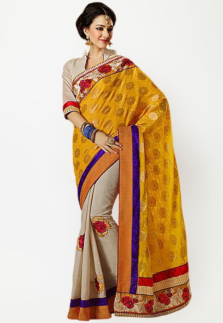 Camel Embroidered Saree at $180.12 (24% OFF)