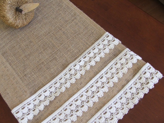 Burlap table runner with cotton crochet lace rustic table decor vintage decoration
