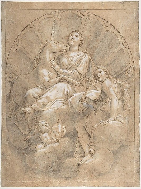 Allegorical Figure of Purity with a Unicorn  Marcantonio Franceschini (Italian, Bologna 1648–1729 Bologna)  Date: 1688–89 Medium: Pen and brown ink, brush and gray wash, highlighted with white, over black chalk, on brown-washed paper Dimensions: 15-3/4 x 11-3/4 in. (40.0 x 29.8 cm) Classification: Drawings    met museum