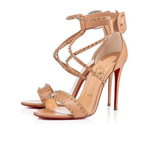 Choca spikes 100 NUDE/LIGHT GOLD Kid - Women Shoes - Christian Louboutin