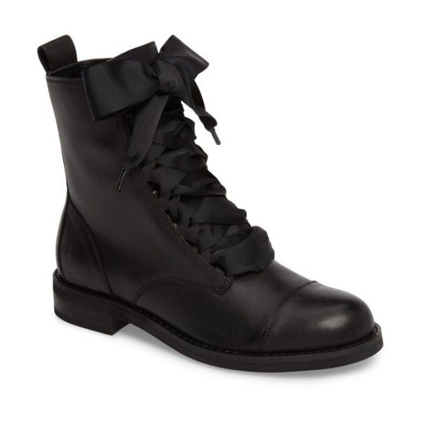 Women's Bp. Lex Lace-Up Combat Boot (1.607.330 IDR) ❤ liked on Polyvore featuring shoes, boots, black leather, military boots, laced up boots, vintage military boots, black military boots and vintage lace up boots