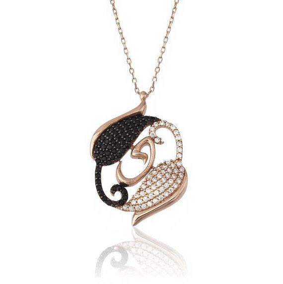 Swan Rose Figure Black White Diamonds Sterling by JeweeDiamond, $39.90