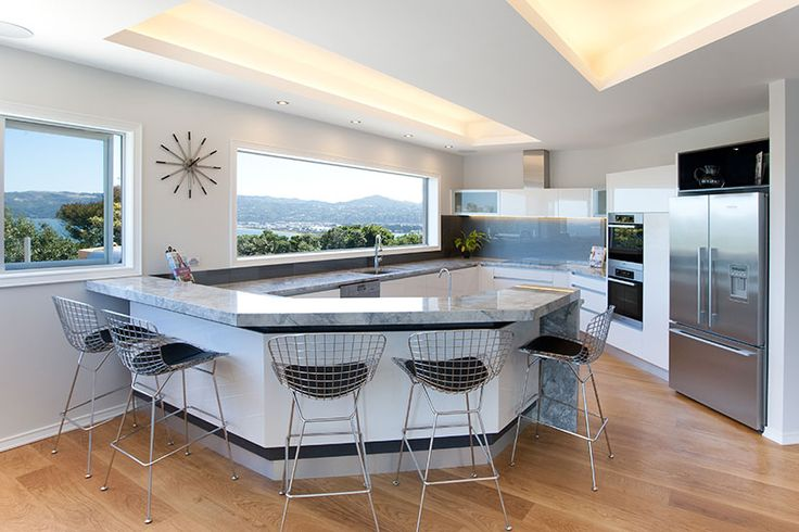 Kitchen by Moore Design & Draughting, White Gloss, recessed lighting, French Oak Flooring