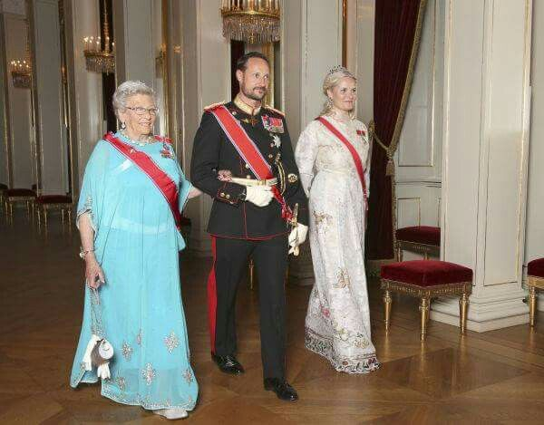 Princess Astrid of Norway, CP Haakon and CP Mette-Marit of Norway at a gala dinner in honor of the President of Singapore. October 10 2016