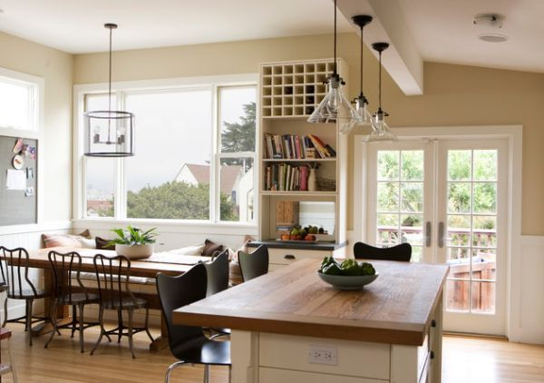 Handblown Meridian pendant lights give this kitchen a modern touch