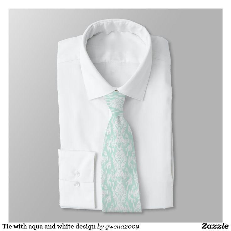 Tie with aqua and white design
