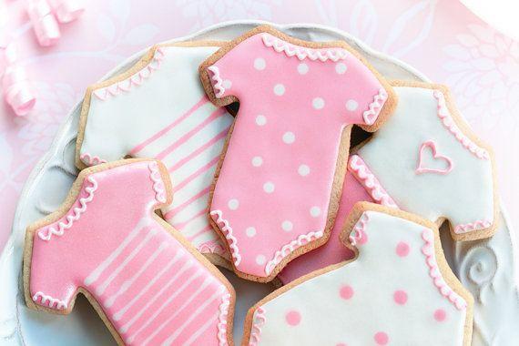 Cute onesie cookies - baby shower favors