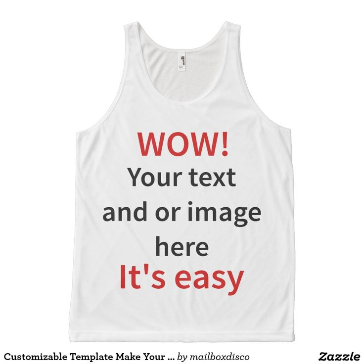 Customizable Template Make Your Own All-Over Print Tank Top