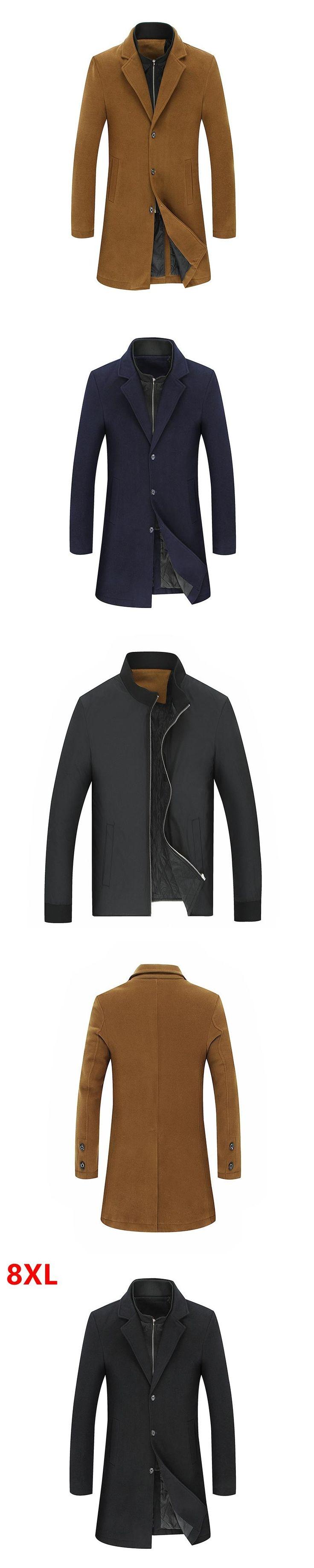 Big size Autumn  winter new section  coat plus  size  windbreaker tall men plus size woolen coat jacket cloak 2 in 1