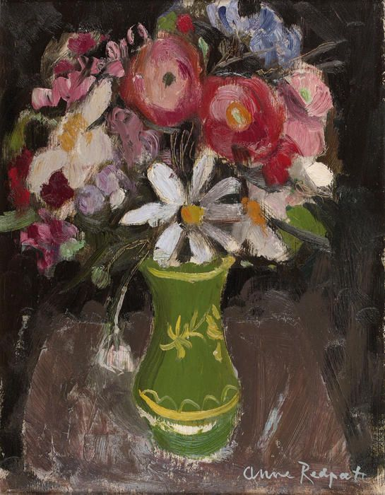 Summer Flowers in a green vase, oil on panel, Anne Redpath - Paintings and Works on Paper - The Scottish Gallery, Edinburgh - Contemporary Art Since 1842