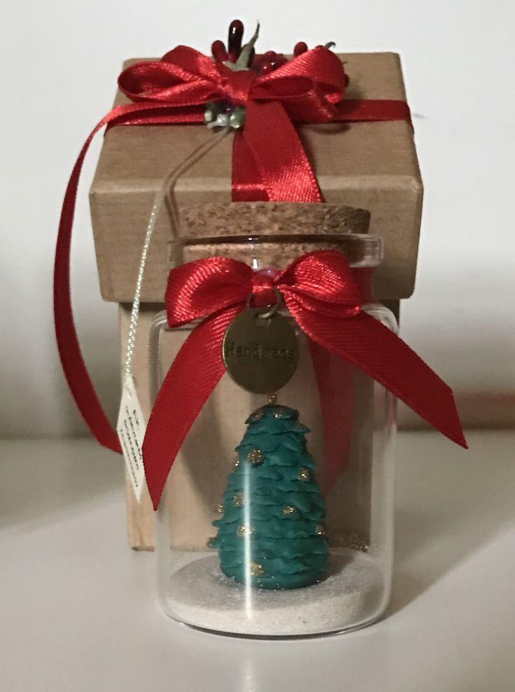Handmade polymer Christmas tree in a bottle 1