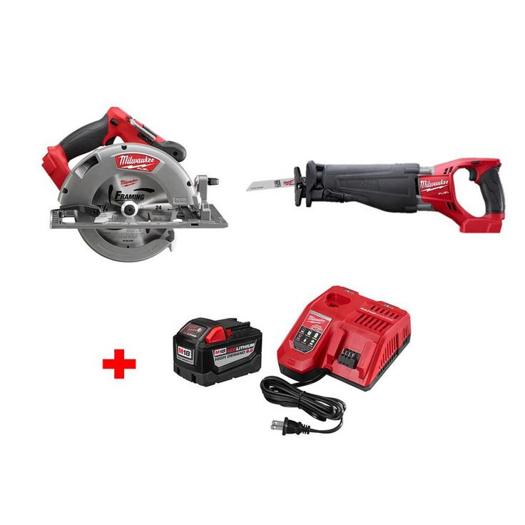 Milwaukee M18 Fuel 18-Volt Brushless Lithium-Ion 7-1/4 in. Cordless Circular Saw and Sawzall with 9.0Ah Starter Kit