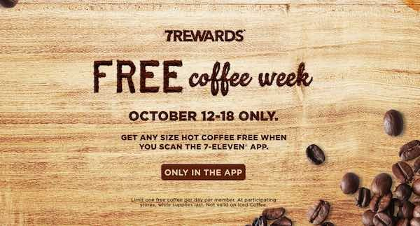 If you have 7-Eleven's near you, check out this promo starting October 12th! You'll be able to score ANY SIZE FREE Coffee when you can the 7-Eleven App on you device! Make sure you are already signed-up for 7Rewards! Mark you calendars and don't miss out! Not valid on iced coffees.