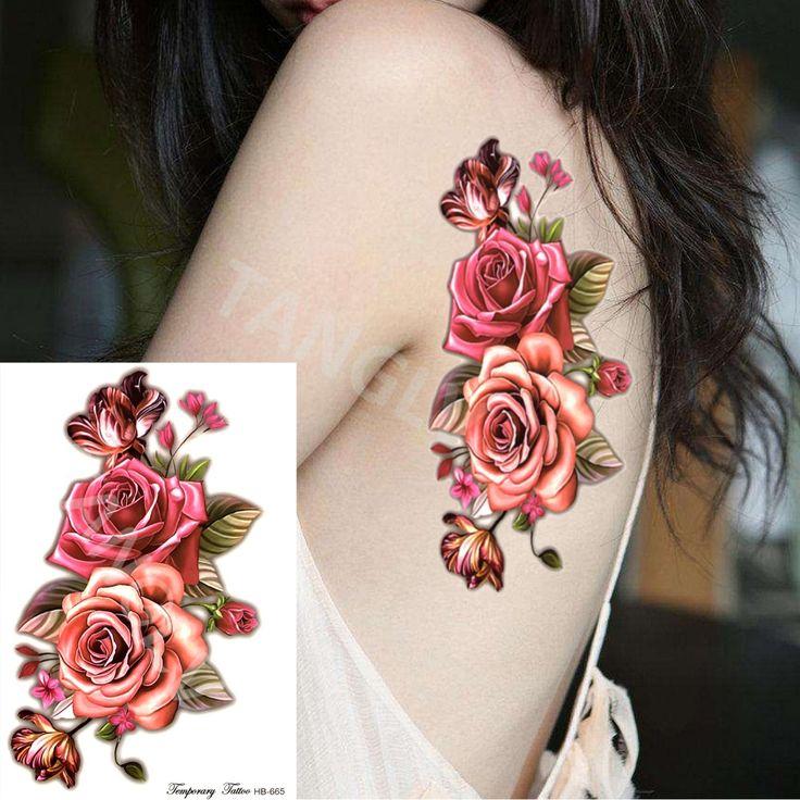 1 шт Индийские Арабские Поддельные временные татуировки наклейки 3D розовыми цветами руку на плечо татуировки водонепроницаемый для женщин большой на теле HB665 купить на AliExpress