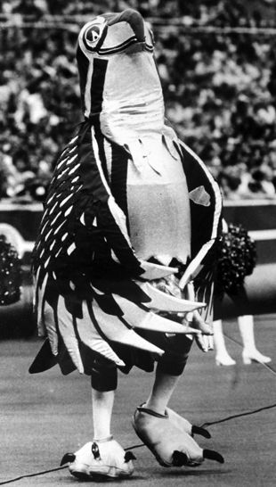 Before Blitz, the Seahawks had this mascot. This picture is from the 1979 season. (seattlepi.com file)