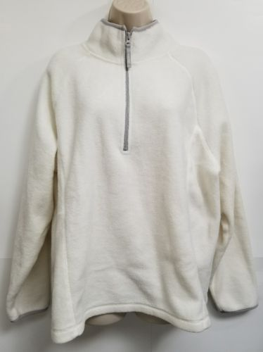 Old Navy Sweater Womens XXL Cream 100% Polyester 1/2 Zip Long Sleeve