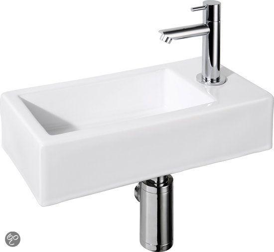 Differnz Helios Fontein Toilet Rechts - Set - 36 x 18 cm - Keramiek - Wit, EUR 80