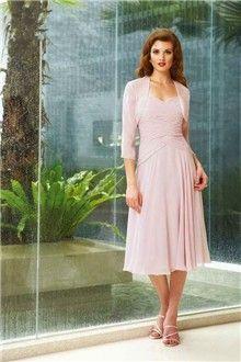 A-Line/Princess Sweetheart Tea-length Chiffon Mother of the Bride Dress