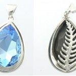 Aquamarine Swarovski crystal, excelsior white pendant