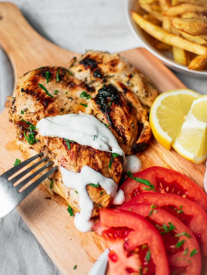 Grilled Chicken With Yogurt Sauce Greek Fries Real Greek Recipes Recipe Greek Recipes Beef Recipes Poultry Recipes