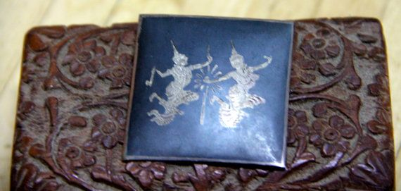 Vintage Sterling Silver black enamel brooch Siam Two