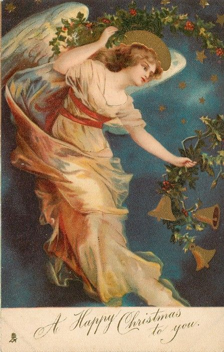 A HAPPY CHRISTMAS TO YOU angel floats facing down & right carrying skein of holly with bells - TuckDB
