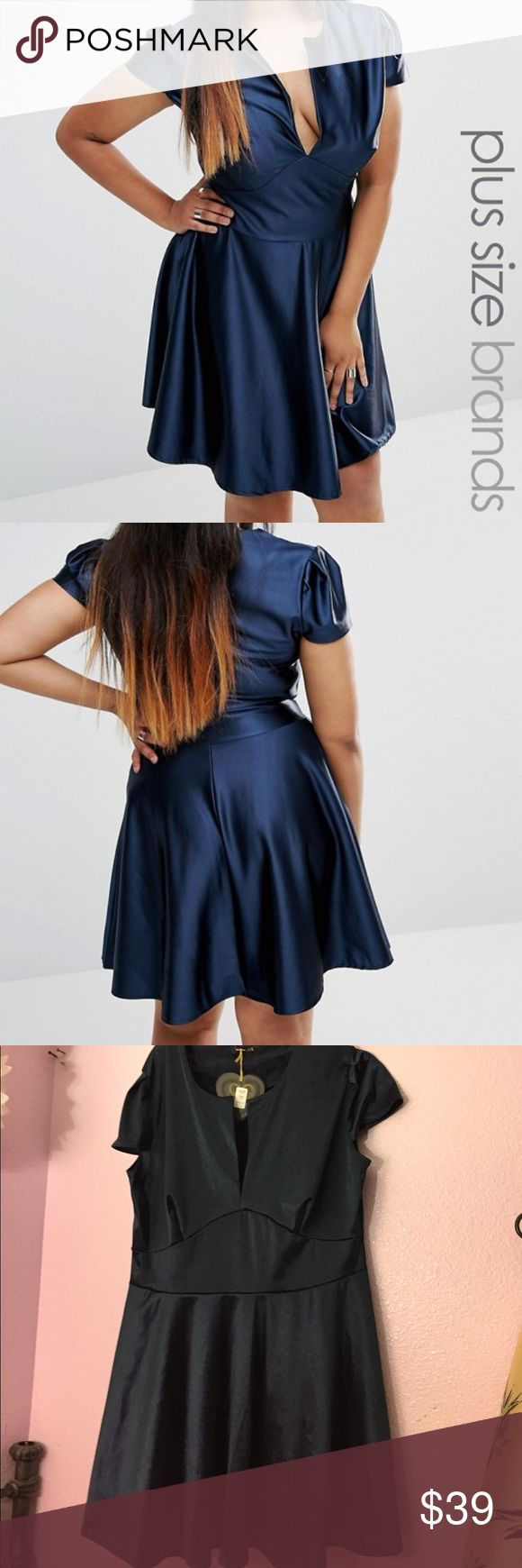 Blue satin skater dress NWT Club L Blue satin skater dress purchased from Asos Curve. Size U.K. 22/US 18, true to size but material is stretchy. Bust is 46-54 inches and 36 inches long. Beautiful dress but I've outgrown it 😩 ASOS Curve Dresses