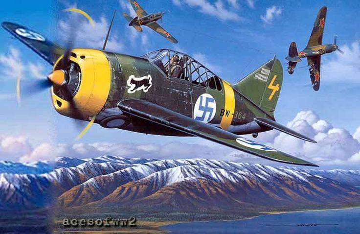 Ilmari Juutilainen's Brewster -Total victories 94 confirmed. He also flight with Bf 109.