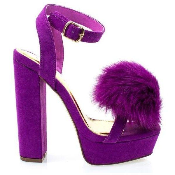 #Yuko10 by Liliana, Purple Furry Super High Block Heel Platform Dress... ($46) ❤ liked on Polyvore featuring shoes, sandals, block heel shoes, platform dress sandals, dress sandals, dress sandals shoes and liliana footwear
