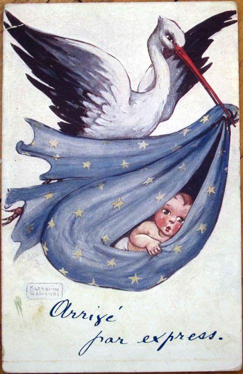 1910 Raphael Tuck, Katherine Gassaway/Artist-Signed Postcard - Stork & Baby - 4