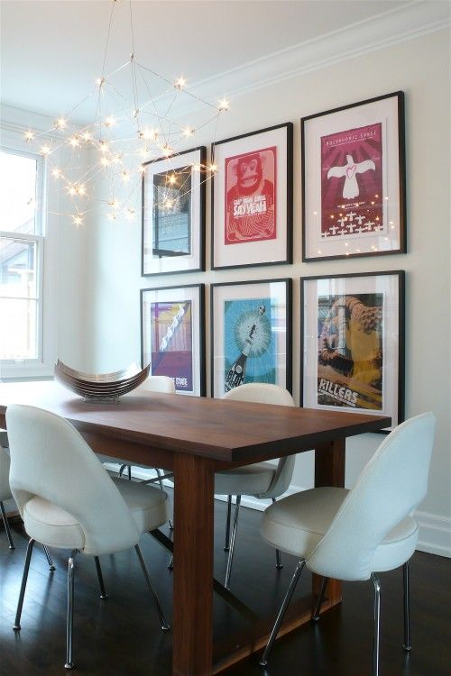 These Are Rock Posters In Identical Frames But Any Pop Art Would Do To Create Contemporary Dining RoomsDining