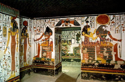 Tomb of Queen Nefertari. Interior of the vestibule within the tomb of Queen Nefertari. At centre is the entrance to a larger room known as the First east side annexe. Nefertari, who lived around 1300-1255 BC, was the first wife of the Egyptian pharaoh Ramses II.
