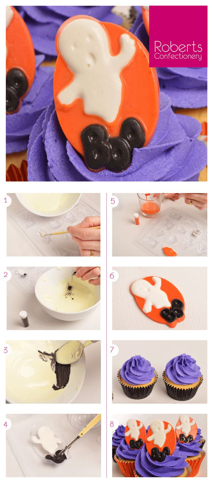 Ghost Chocolate Toppers - using Roberts Confectionery Halloween Mould