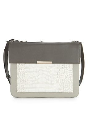 Marks & Spencers - Grey Mix Mock Crocodile Pocket Across Body Bag
