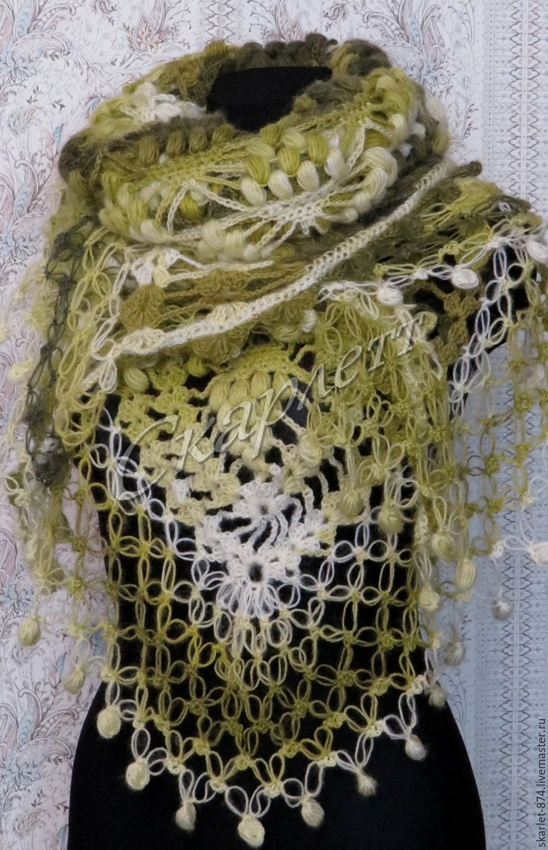 Купить Вязаная шаль полушерсть Бабье лето - разноцветный, рисунок, шаль, шаль вязаная