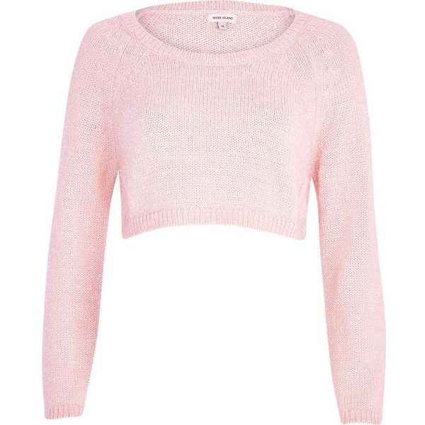 River Island Light pink cropped jumper featuring polyvore, women's fashion, clothing, tops, jumpers, pink, sweaters, sale and river island