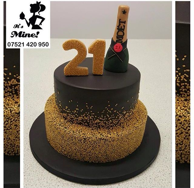 A gold and black ombre twenty first birthday cake with a bottle of Moet coming out the top by It's Mine Cakes