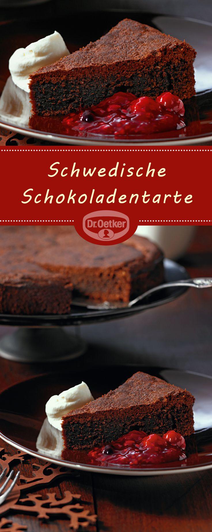 Schwedische Schokoladentarte Saftige Tarte mit einer feinen Kaffee-Note als besonderer Hingucker auf der Kaffeetafel