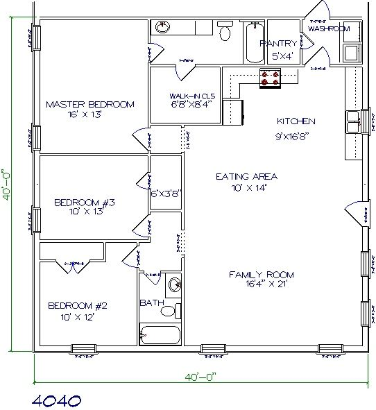 barndominium floor plan 3 bedroom 2 bathroom 40x40