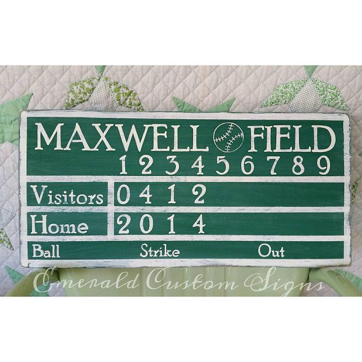 Personalized Baseball Scoreboard Sign Man Cave Custom Boys Room Playroom