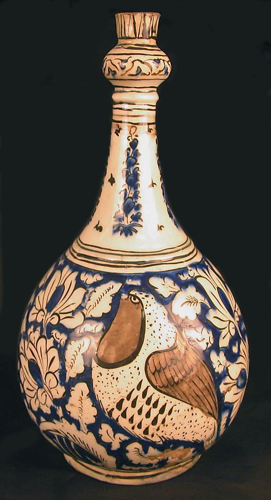 Pear-Shaped Bottle with Birds 17th century Iran Stonepaste; polychrome painted under transparent glaze