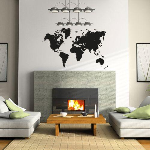 Wallsticker Verdenskort detaljeret
