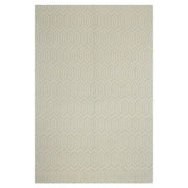 Hand-loomed wool rug with an ivory hexagon motif.  Product: RugConstruction Material: 100% WoolColor: IvoryFeatures: Hand-loomed Note: Please be aware that actual colors may vary from those shown on your screen. Accent rugs may also not show the entire pattern that the corresponding area rugs have.Cleaning and Care: Regular vacuuming and spot cleaning recommended
