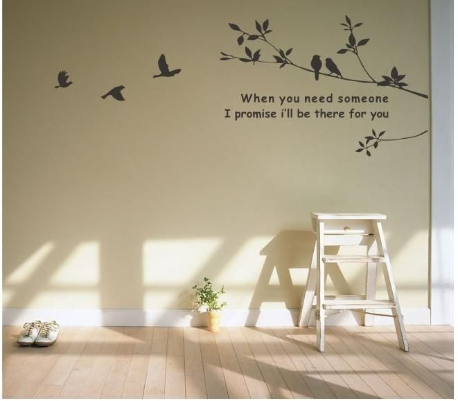Tree and Bird Mural Art Wall Stickers Vinyl Decal Home Room Decor DIY