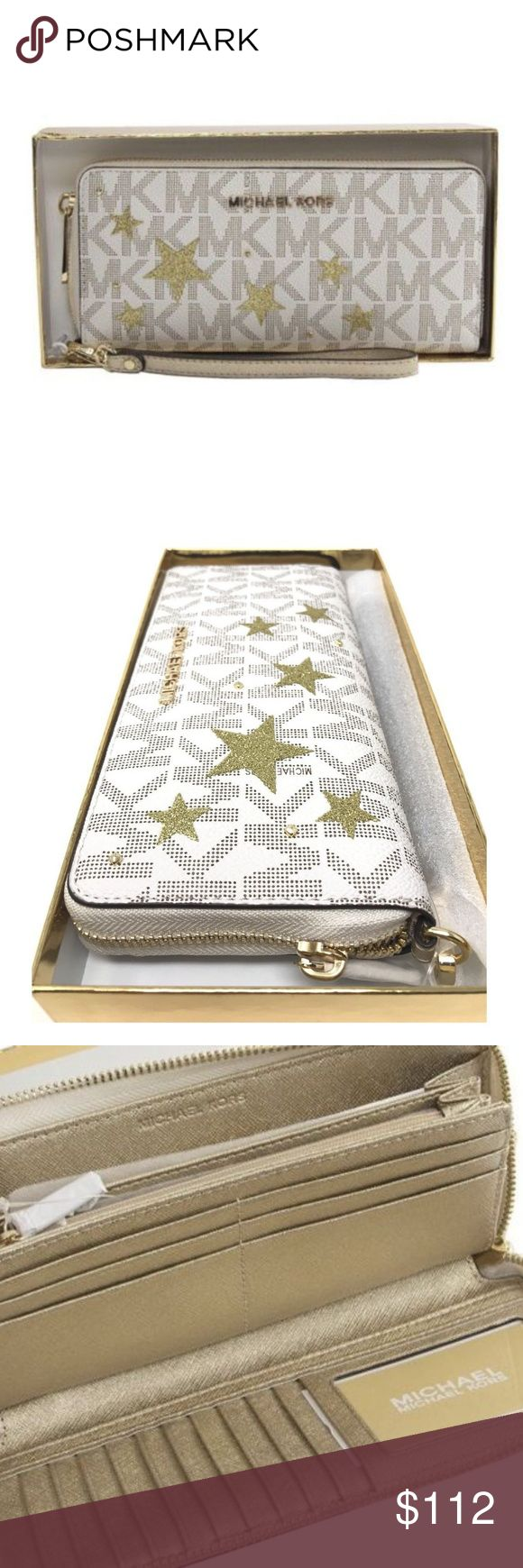 Michael Kors Illustrations Gold Star Travel Wallet Michael Kors Illustrations Gold Stars Continental Travel Wallet Vanilla Gold  Item# 273010475058  100% Authentic Michael Kors!  Buy with confidence!  • MSRP: $198.00  • Style: 35H7XIFE3M  Features:  • Brand: Michael Kors  • Continental Illustrations Zip Around Travel Wallet  • Gold Glitter Stars, Vanilla Signature  • Leather and PVC signature  • Gold Nameplate  • Detachable wrist strap  • Measures 8.5 wide by 4 inches height  • Zip around…