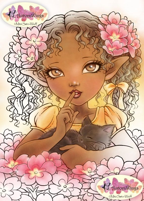 PNG Digital Stamp – Primrose Elf – Big Eye Girl with a Kitten – Instant Download – Fantasy Line Art for Cards & Crafts by Mitzi Sato-Wiuff – Jill Baird